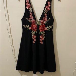 Black rose floral embroidered v neck skater dress